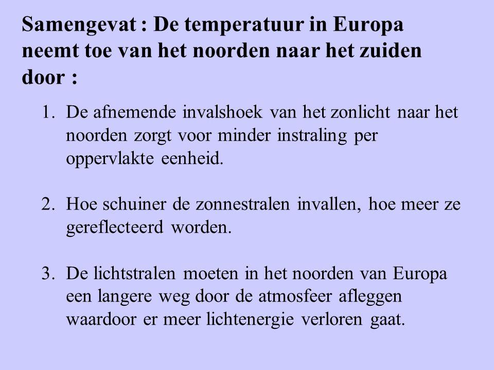 Samengevat : De temperatuur in Europa neemt toe van het noorden naar het zuiden door :