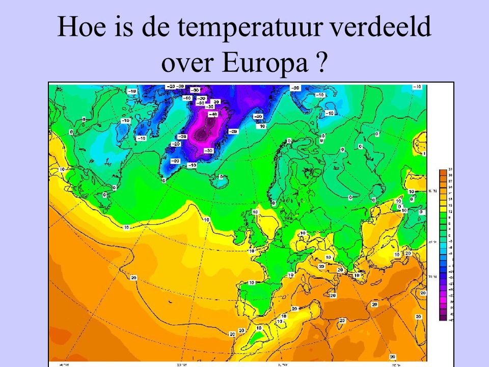 Hoe is de temperatuur verdeeld over Europa