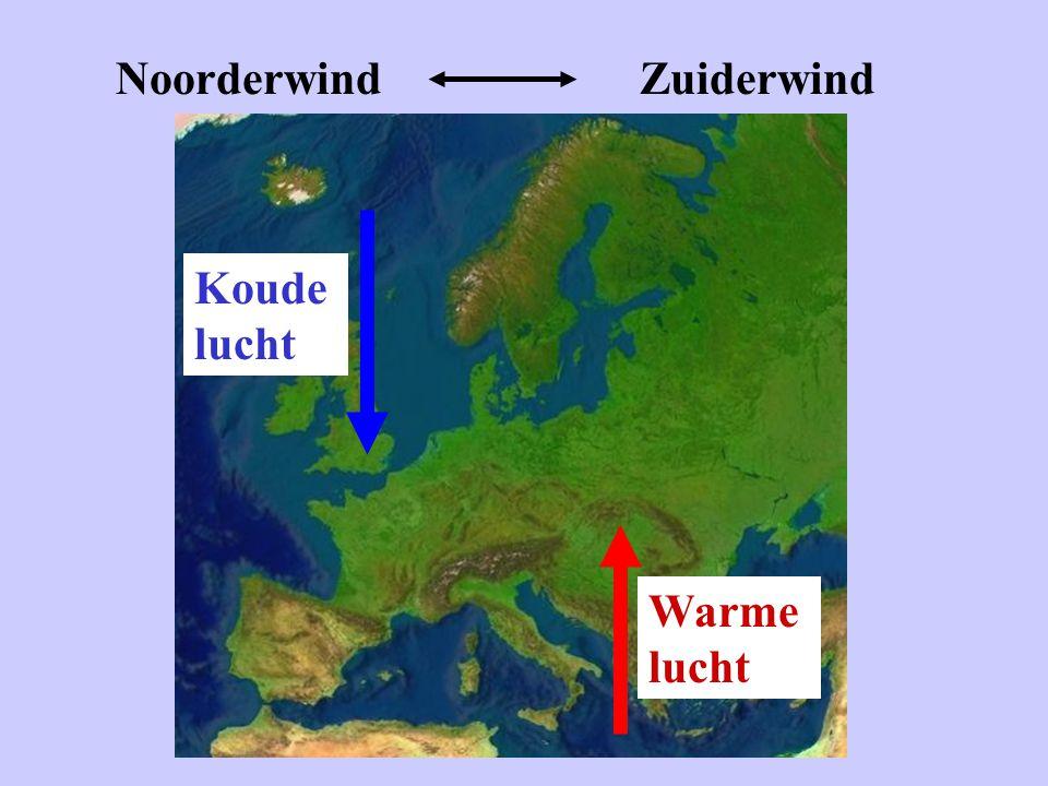 Noorderwind Zuiderwind Koude lucht Warme lucht