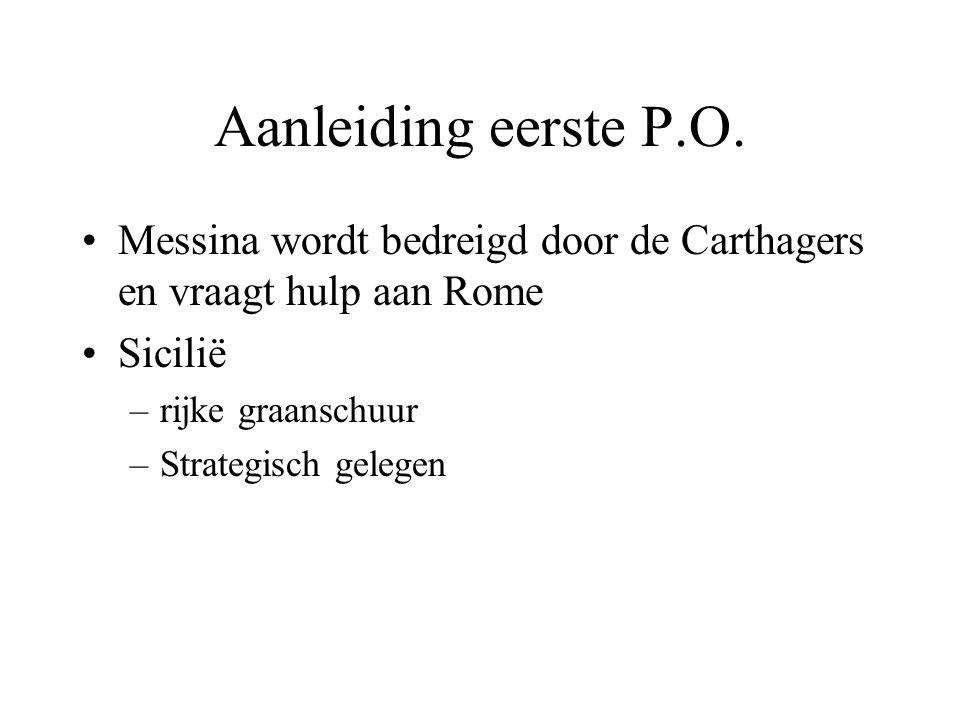 Aanleiding eerste P.O. Messina wordt bedreigd door de Carthagers en vraagt hulp aan Rome. Sicilië.