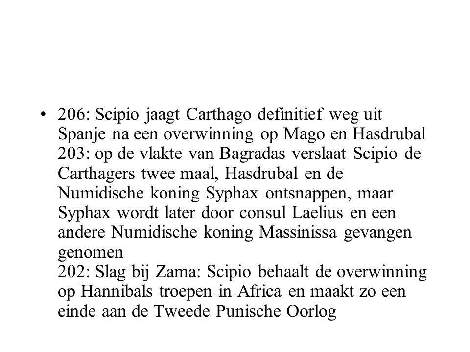 206: Scipio jaagt Carthago definitief weg uit Spanje na een overwinning op Mago en Hasdrubal 203: op de vlakte van Bagradas verslaat Scipio de Carthagers twee maal, Hasdrubal en de Numidische koning Syphax ontsnappen, maar Syphax wordt later door consul Laelius en een andere Numidische koning Massinissa gevangen genomen 202: Slag bij Zama: Scipio behaalt de overwinning op Hannibals troepen in Africa en maakt zo een einde aan de Tweede Punische Oorlog
