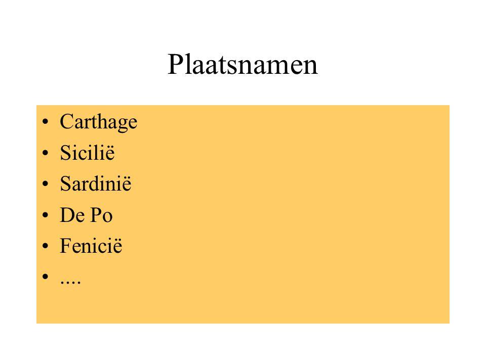 Plaatsnamen Carthage Sicilië Sardinië De Po Fenicië ....