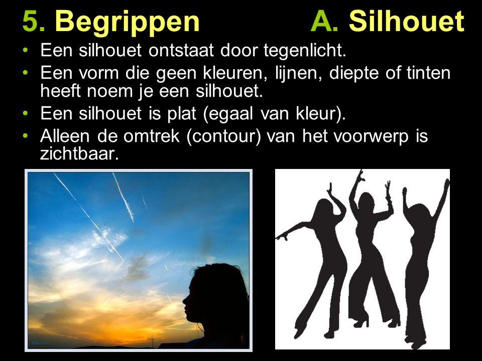5. Begrippen A. Silhouet Een silhouet ontstaat door tegenlicht.