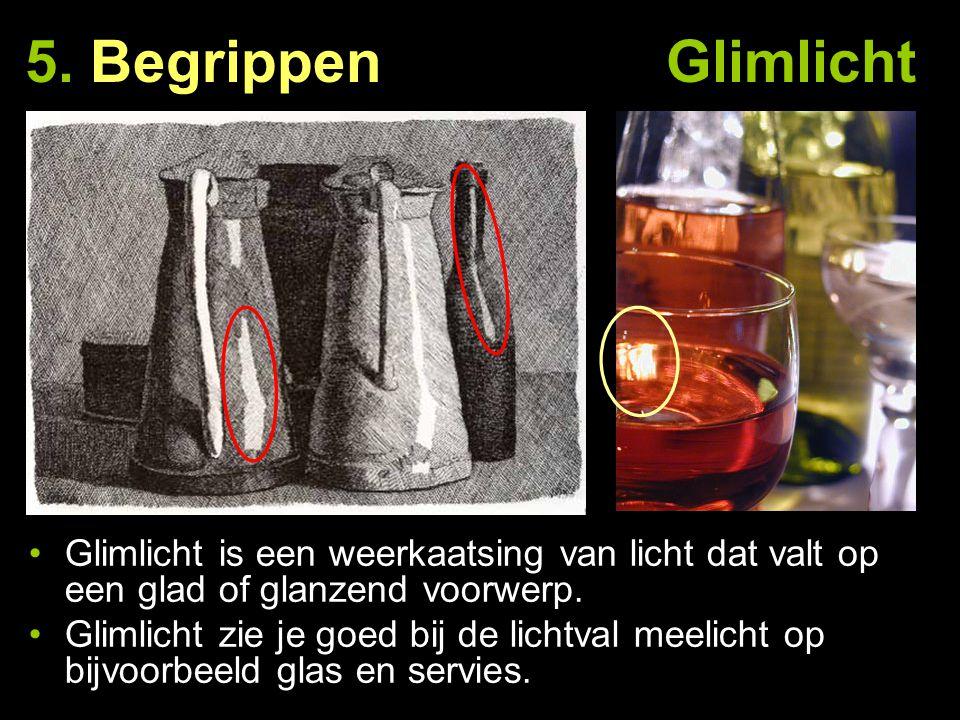 5. Begrippen Glimlicht Glimlicht is een weerkaatsing van licht dat valt op een glad of glanzend voorwerp.