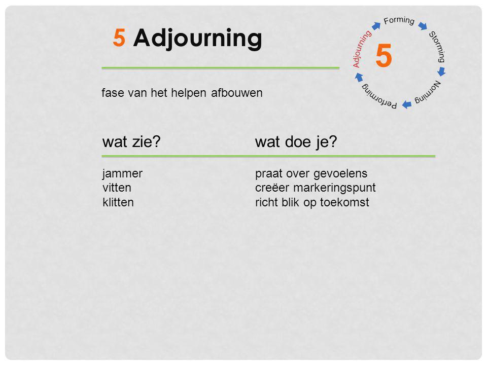 5 5 Adjourning wat zie wat doe je fase van het helpen afbouwen