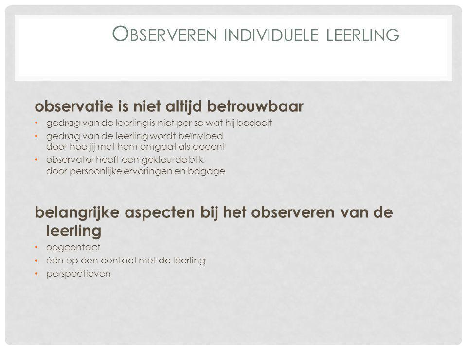 Observeren individuele leerling