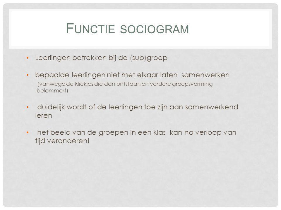 Functie sociogram Leerlingen betrekken bij de (sub)groep