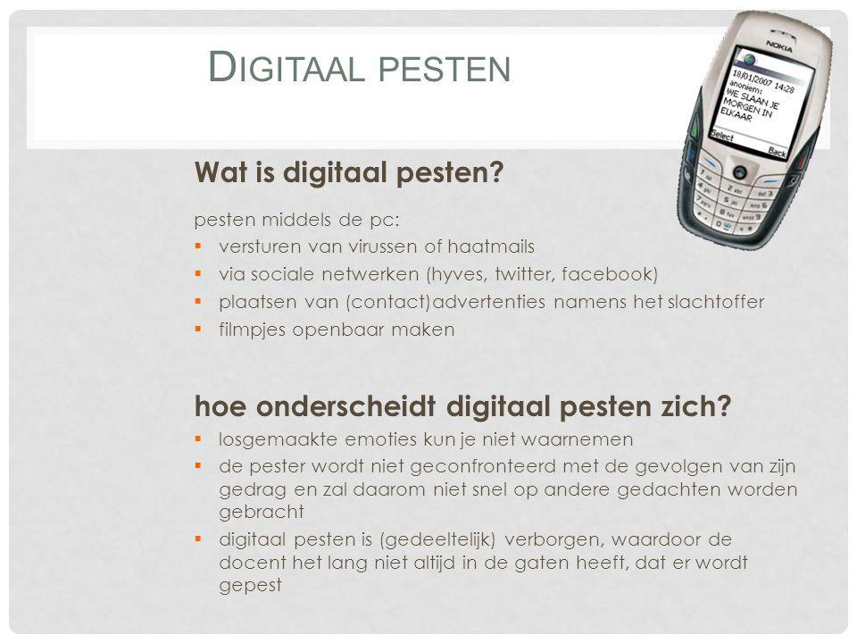 Digitaal pesten Wat is digitaal pesten