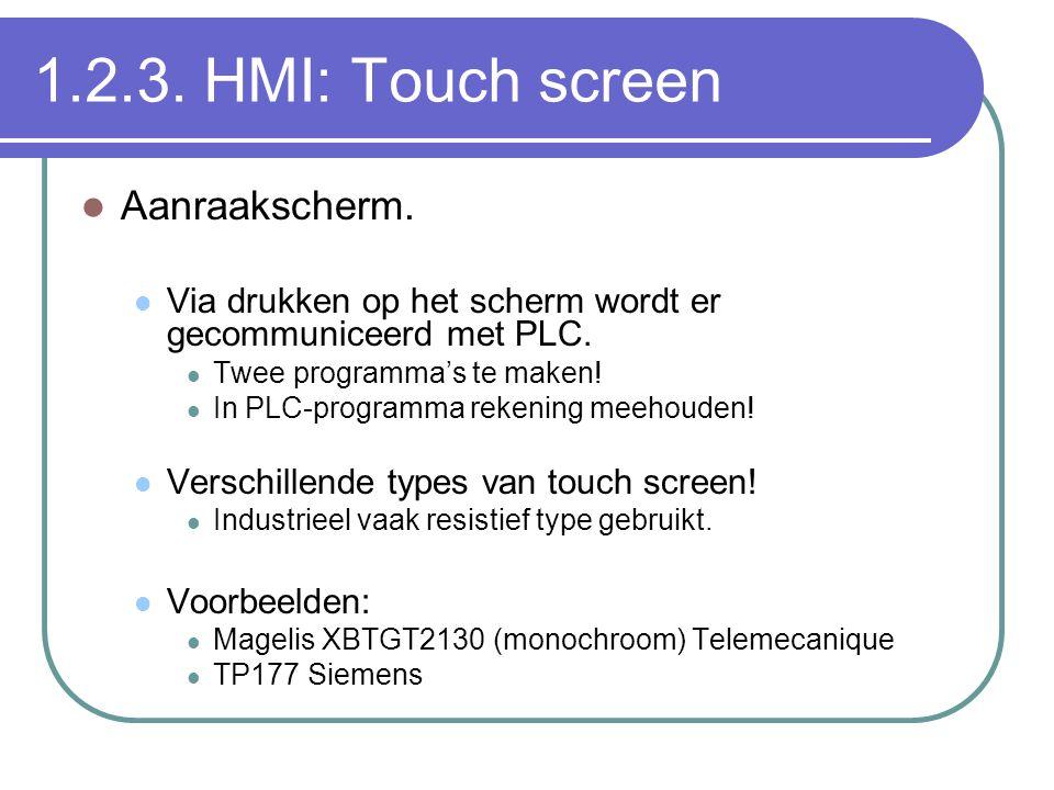 1.2.3. HMI: Touch screen Aanraakscherm.