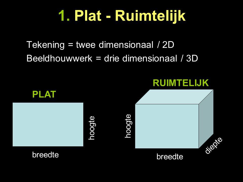 1. Plat - Ruimtelijk Tekening = twee dimensionaal / 2D