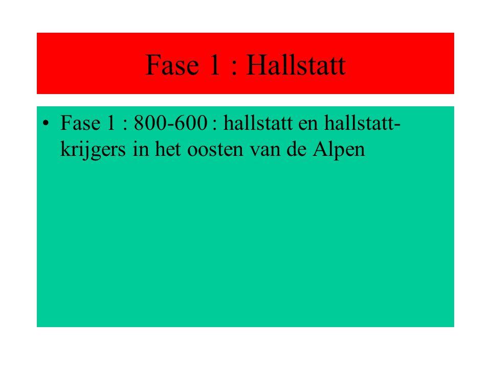 Fase 1 : Hallstatt Fase 1 : 800-600 : hallstatt en hallstatt-krijgers in het oosten van de Alpen