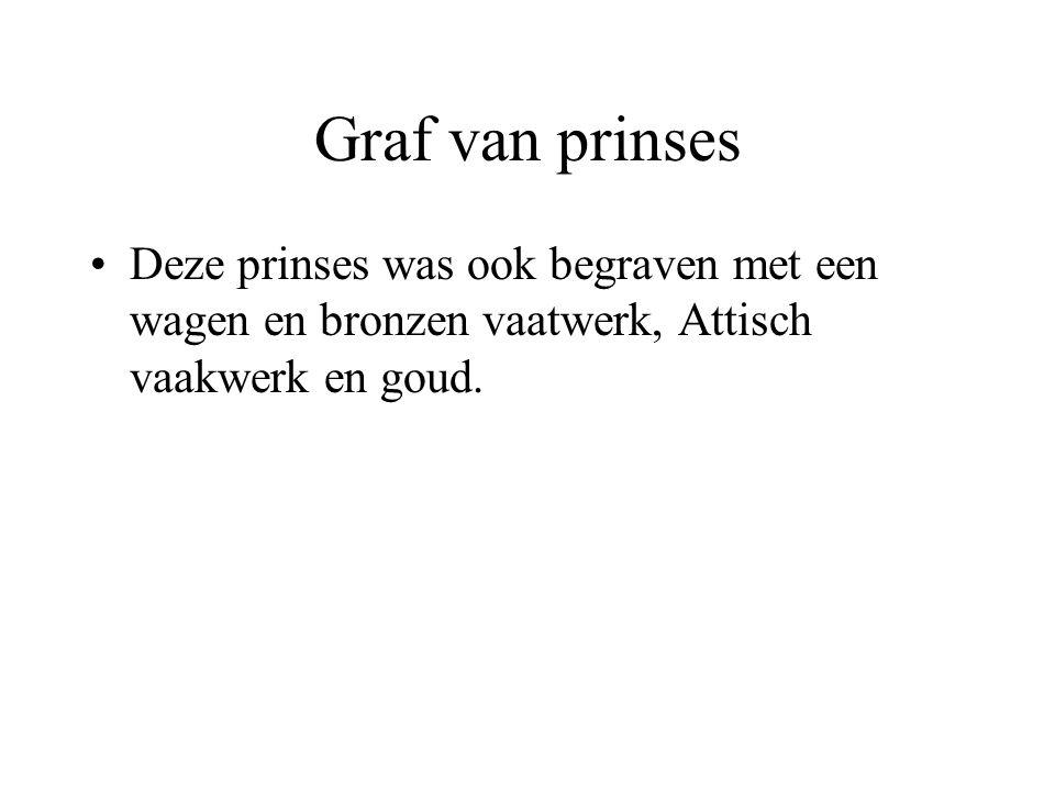 Graf van prinses Deze prinses was ook begraven met een wagen en bronzen vaatwerk, Attisch vaakwerk en goud.