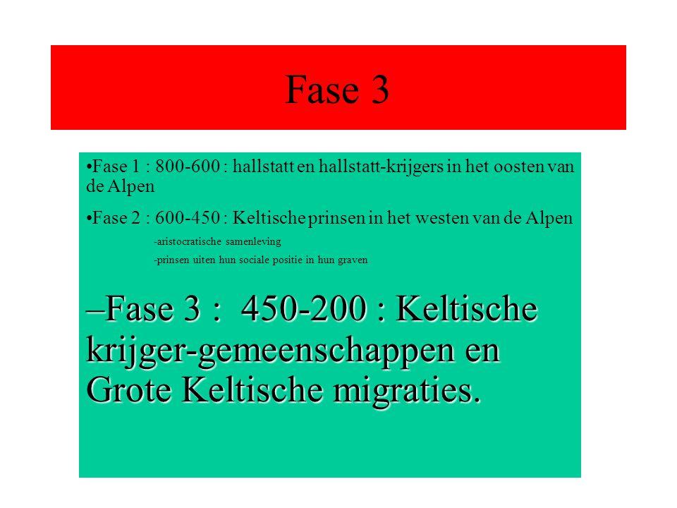 Fase 3 Fase 1 : 800-600 : hallstatt en hallstatt-krijgers in het oosten van de Alpen.