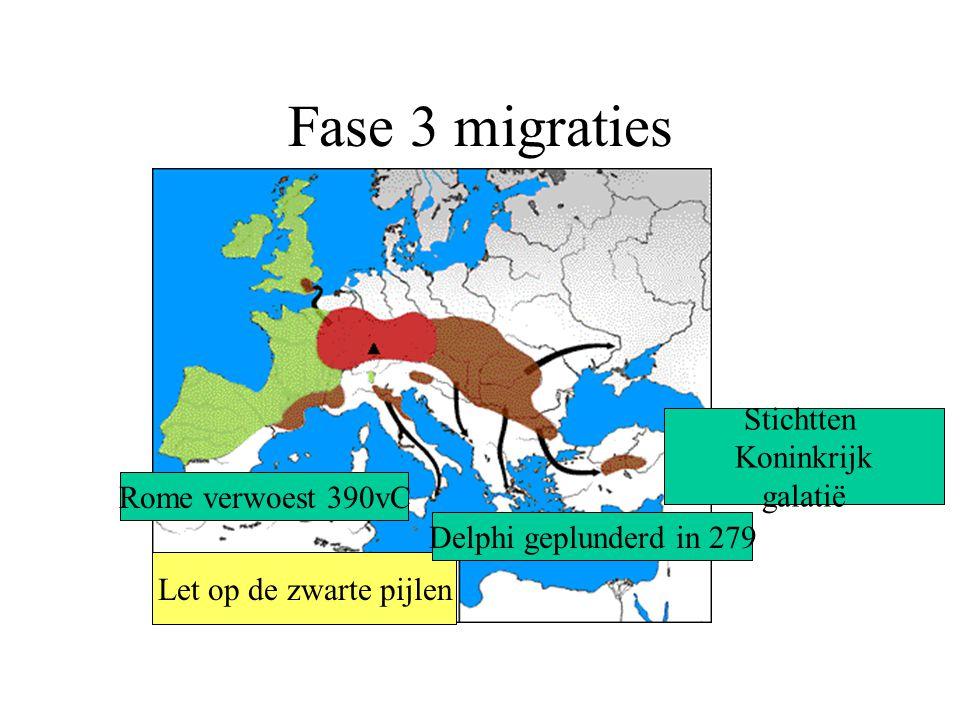 Fase 3 migraties Stichtten Koninkrijk galatië Rome verwoest 390vC