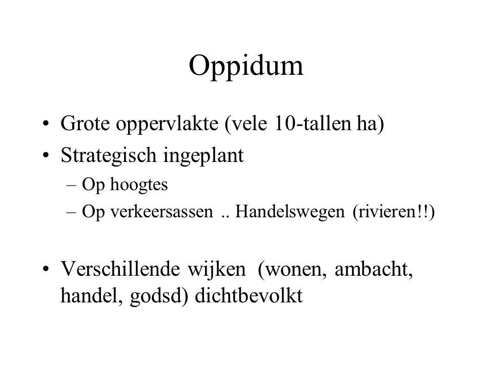 Oppidum Grote oppervlakte (vele 10-tallen ha) Strategisch ingeplant