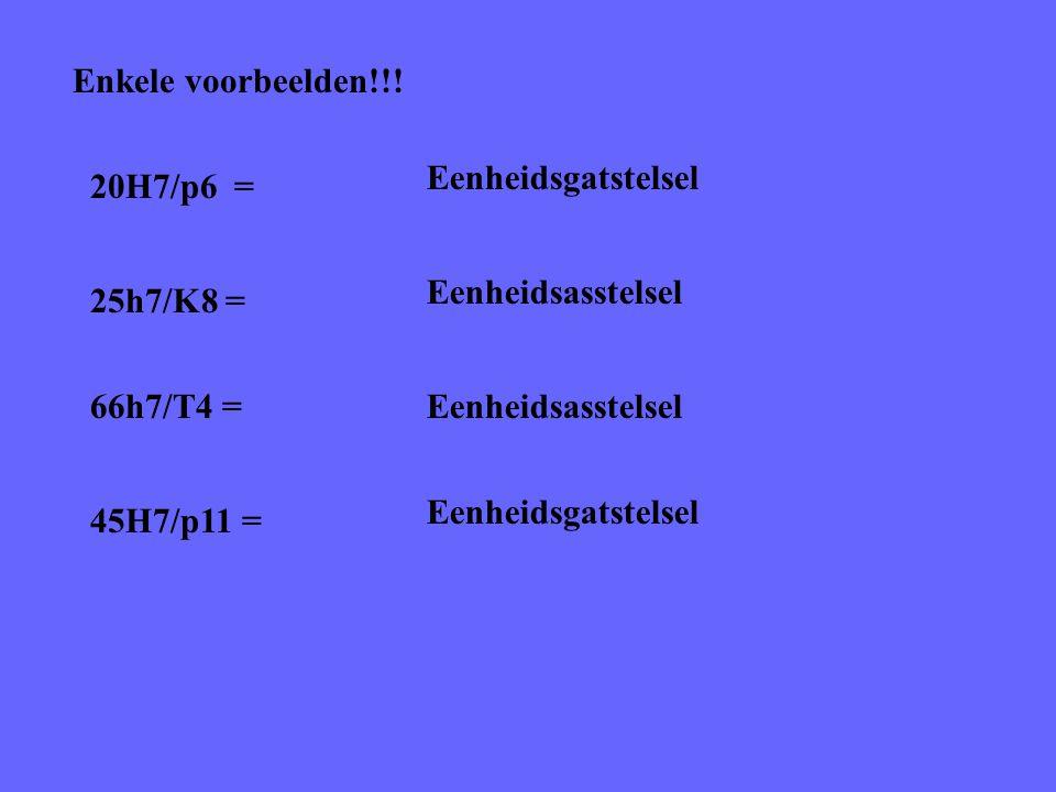 Enkele voorbeelden!!! Eenheidsgatstelsel. 20H7/p6 = Eenheidsasstelsel. 25h7/K8 = 66h7/T4 = Eenheidsasstelsel.