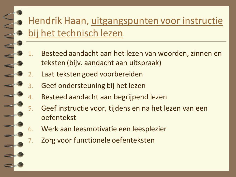 Hendrik Haan, uitgangspunten voor instructie bij het technisch lezen