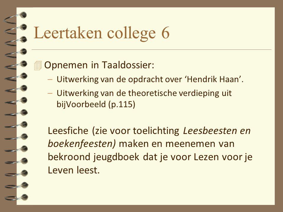 Leertaken college 6 Opnemen in Taaldossier: