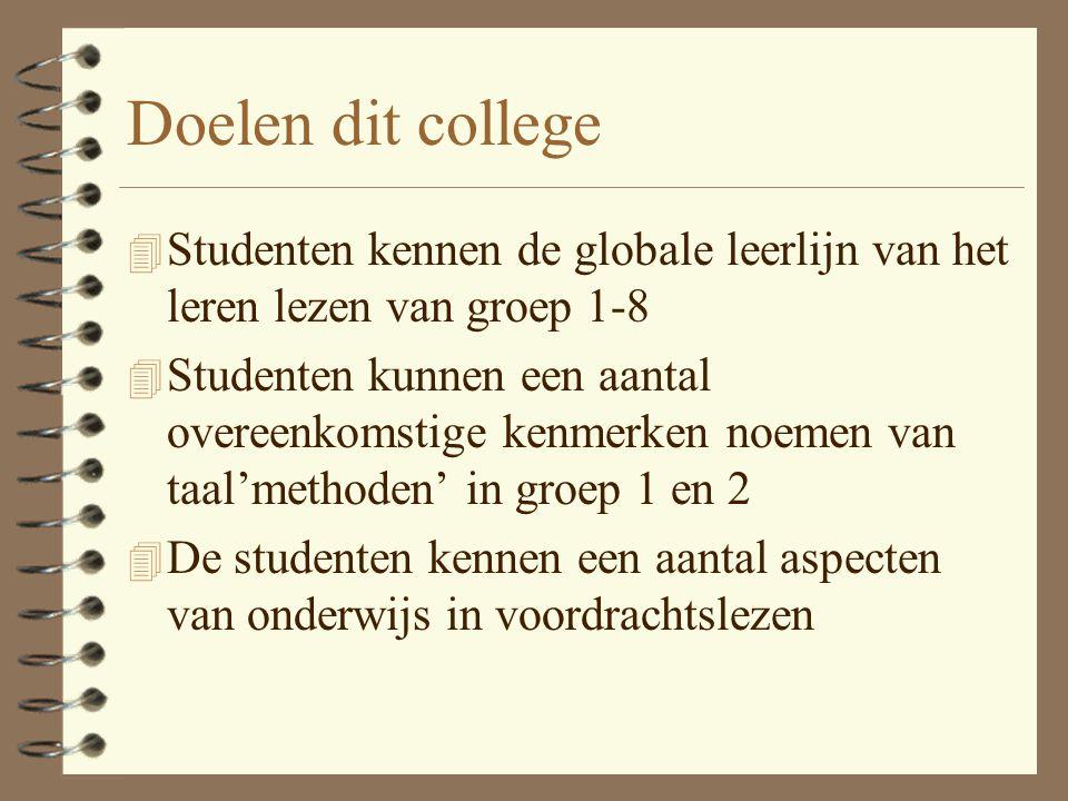 Doelen dit college Studenten kennen de globale leerlijn van het leren lezen van groep 1-8.