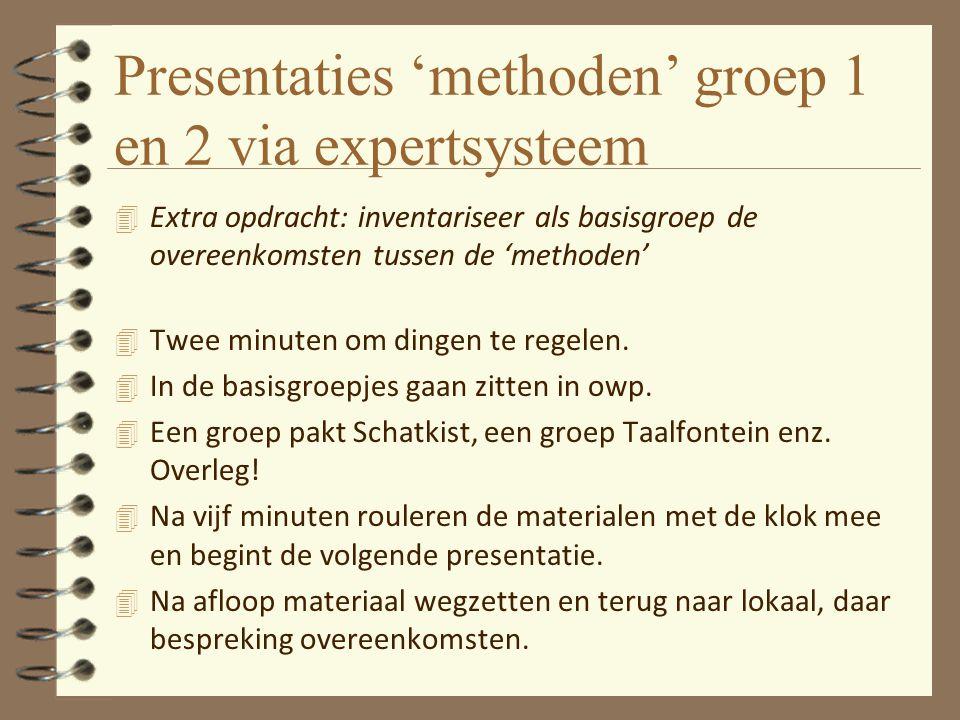 Presentaties 'methoden' groep 1 en 2 via expertsysteem