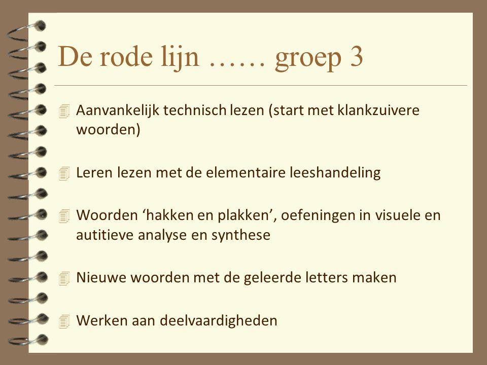 De rode lijn …… groep 3 Aanvankelijk technisch lezen (start met klankzuivere woorden) Leren lezen met de elementaire leeshandeling.