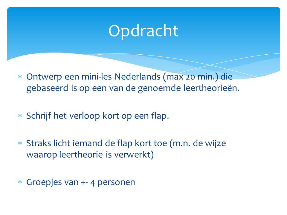 Opdracht Ontwerp een mini-les Nederlands (max 20 min.) die gebaseerd is op een van de genoemde leertheorieën.