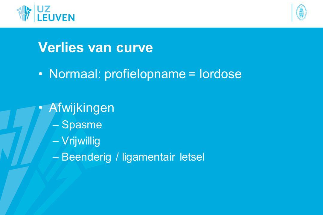 Verlies van curve Normaal: profielopname = lordose Afwijkingen Spasme