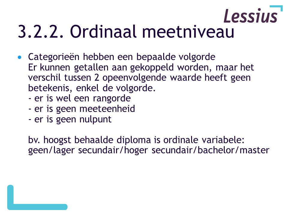3.2.2. Ordinaal meetniveau
