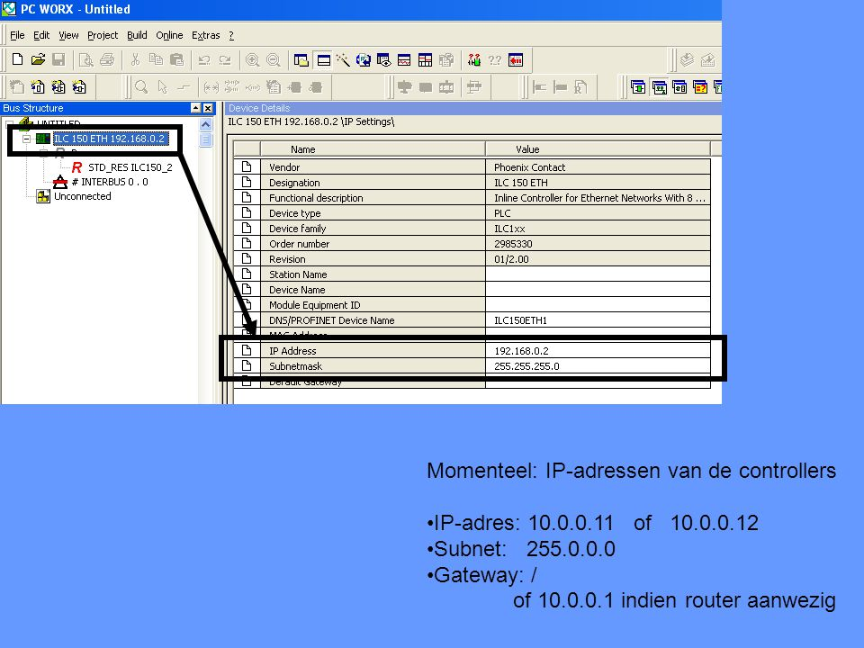 Momenteel: IP-adressen van de controllers