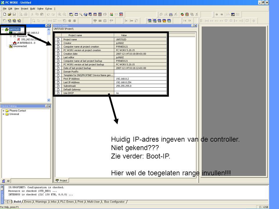 Huidig IP-adres ingeven van de controller.