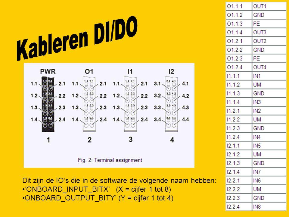 Kableren DI/DO Dit zijn de IO's die in de software de volgende naam hebben: 'ONBOARD_INPUT_BITX' (X = cijfer 1 tot 8)