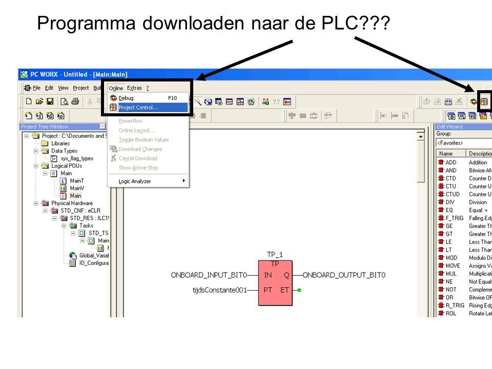 Programma downloaden naar de PLC