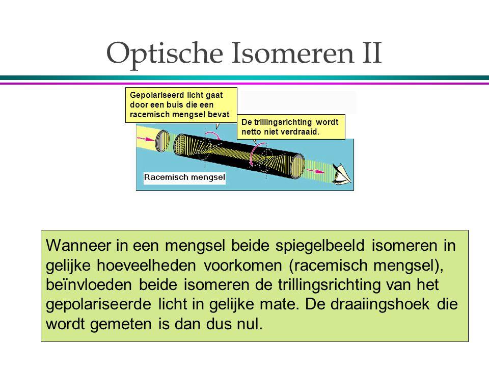 Optische Isomeren II Gepolariseerd licht gaat door een buis die een racemisch mengsel bevat. De trillingsrichting wordt netto niet verdraaid.