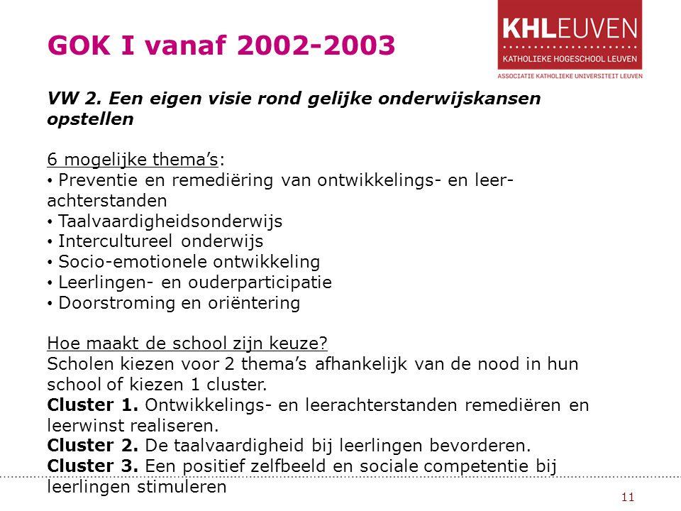 GOK I vanaf 2002-2003 VW 2. Een eigen visie rond gelijke onderwijskansen opstellen. 6 mogelijke thema's:
