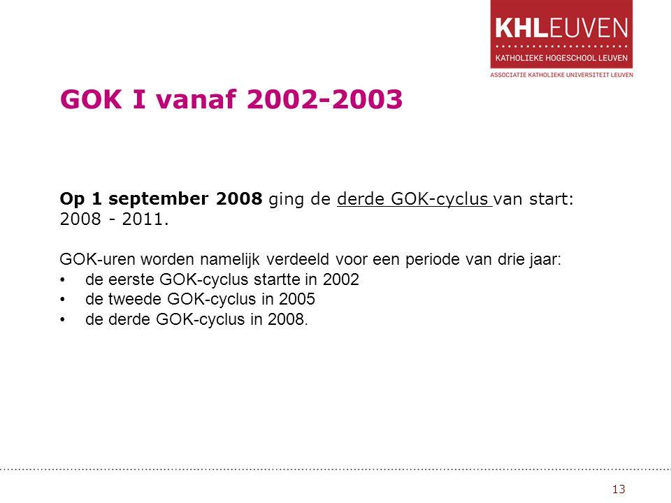GOK I vanaf 2002-2003 Op 1 september 2008 ging de derde GOK-cyclus van start: 2008 - 2011.