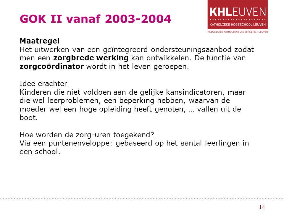 GOK II vanaf 2003-2004 Maatregel