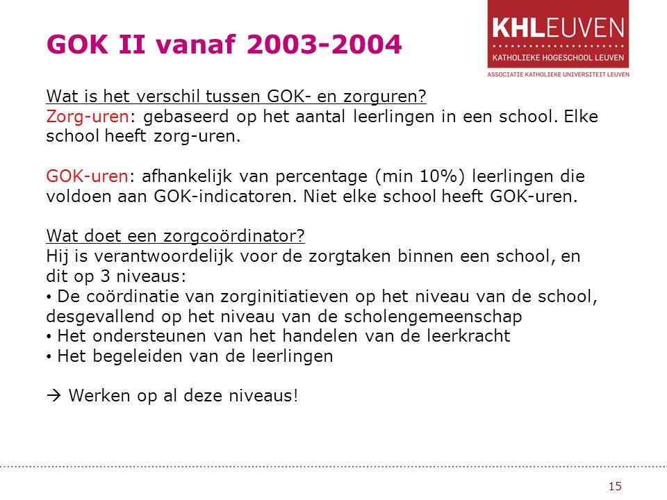GOK II vanaf 2003-2004 Wat is het verschil tussen GOK- en zorguren