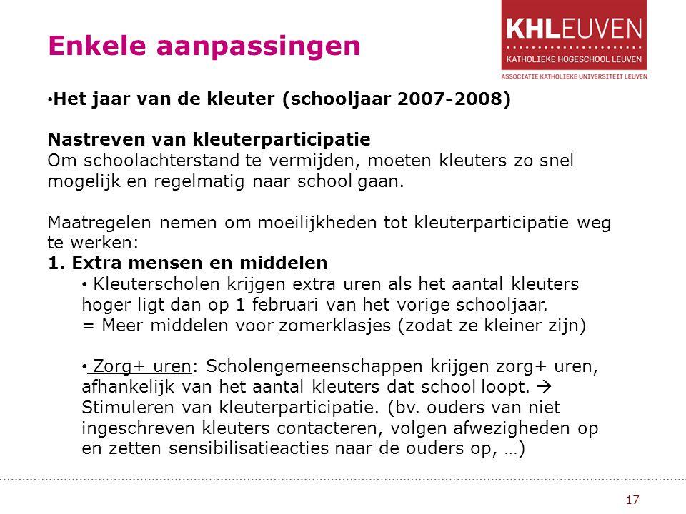 Enkele aanpassingen Het jaar van de kleuter (schooljaar 2007-2008)