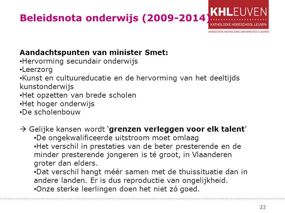Beleidsnota onderwijs (2009-2014)