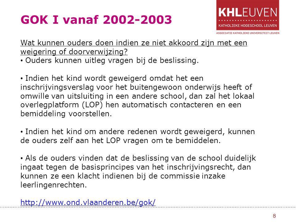GOK I vanaf 2002-2003 Wat kunnen ouders doen indien ze niet akkoord zijn met een weigering of doorverwijzing