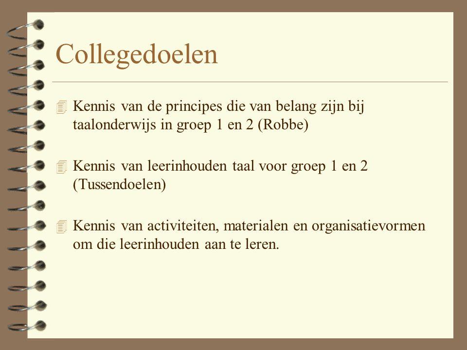 Collegedoelen Kennis van de principes die van belang zijn bij taalonderwijs in groep 1 en 2 (Robbe)