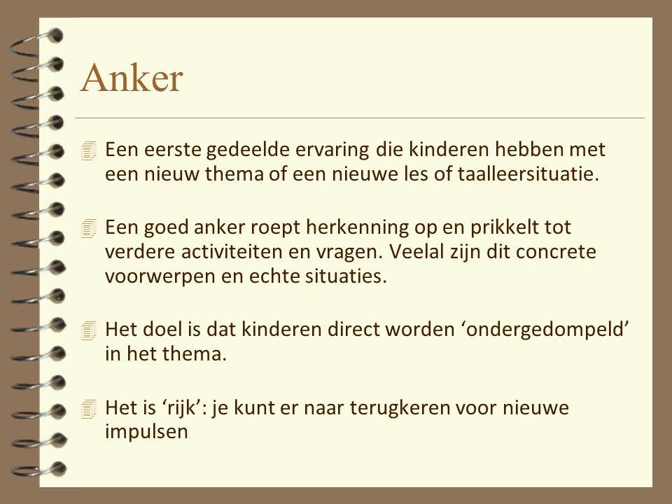 Anker Een eerste gedeelde ervaring die kinderen hebben met een nieuw thema of een nieuwe les of taalleersituatie.