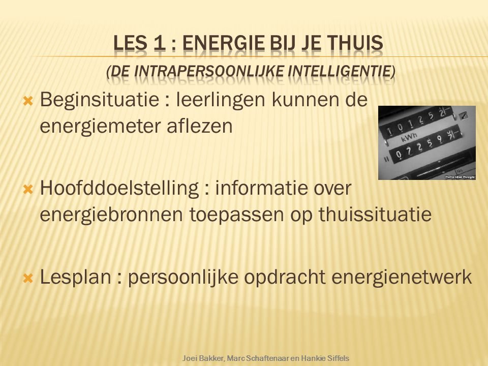 Les 1 : Energie bij je thuis (de intrapersoonlijke intelligentie)
