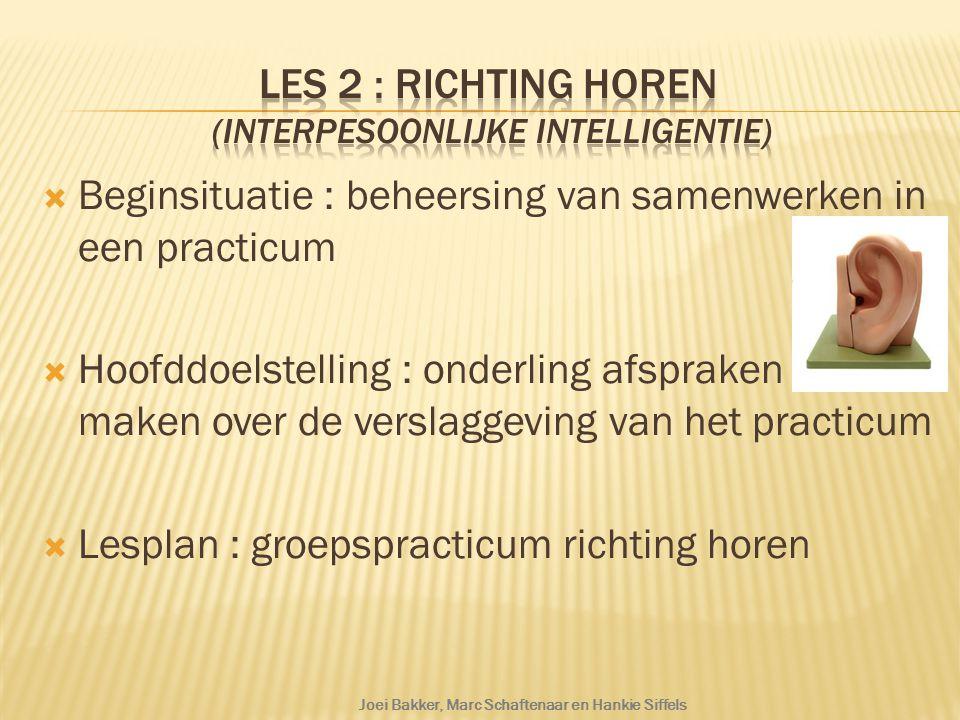 Les 2 : Richting horen (interpesoonlijke intelligentie)