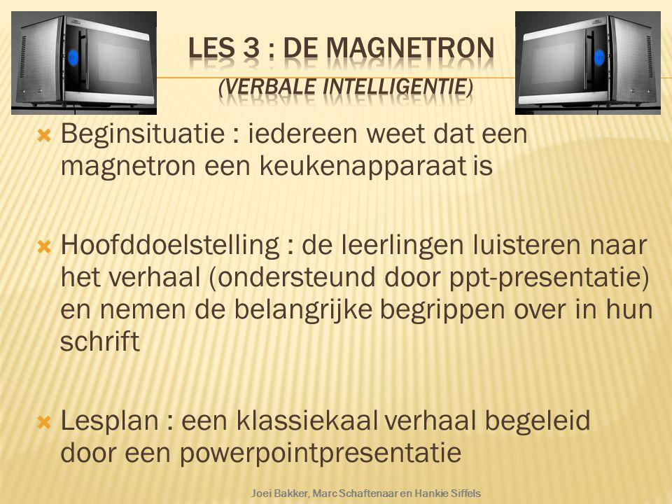 Les 3 : De magnetron (verbale intelligentie)