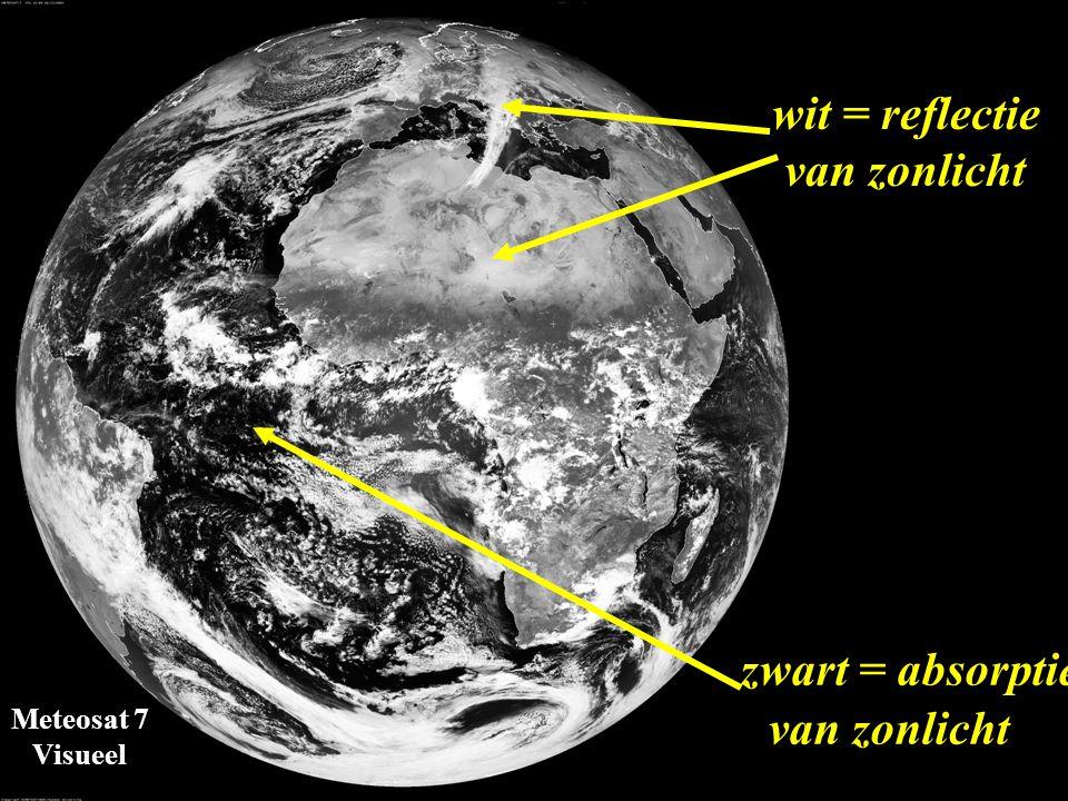 zwart = absorptie wit = reflectie van zonlicht van zonlicht Meteosat 7