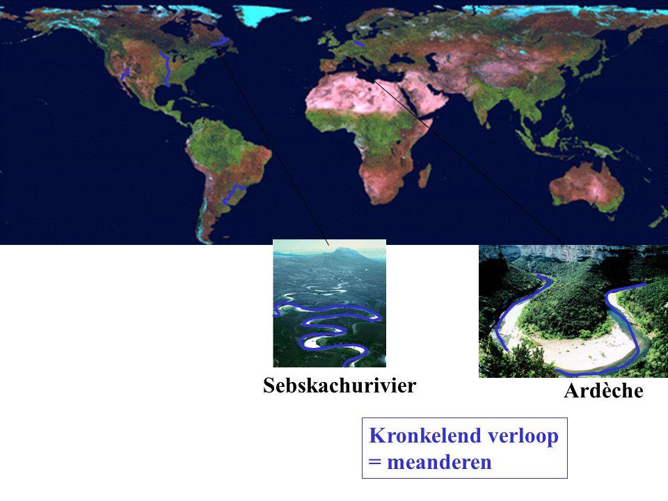 Ardèche Sebskachurivier Kronkelend verloop = meanderen