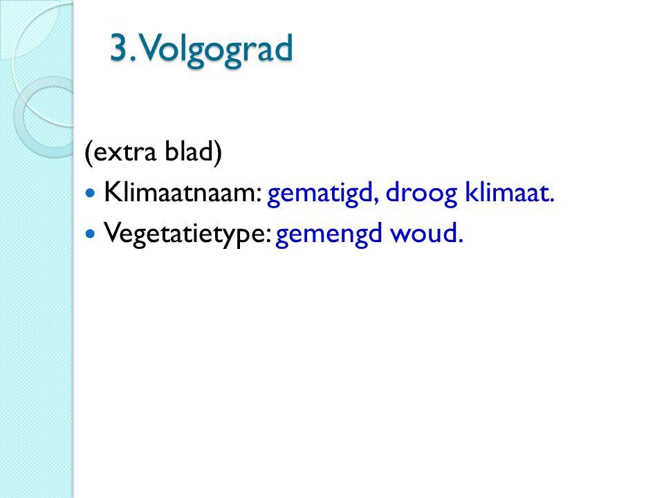 3. Volgograd (extra blad) Klimaatnaam: gematigd, droog klimaat.