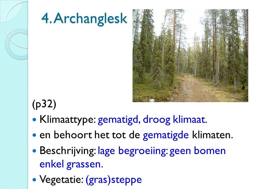 4. Archanglesk (p32) Klimaattype: gematigd, droog klimaat.