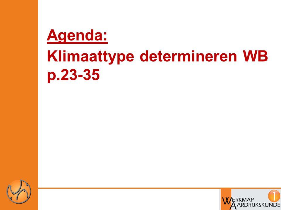 Agenda: Klimaattype determineren WB p.23-35